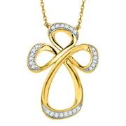 Jessica Simpson Diamond Cross in 10kt Yellow Gold