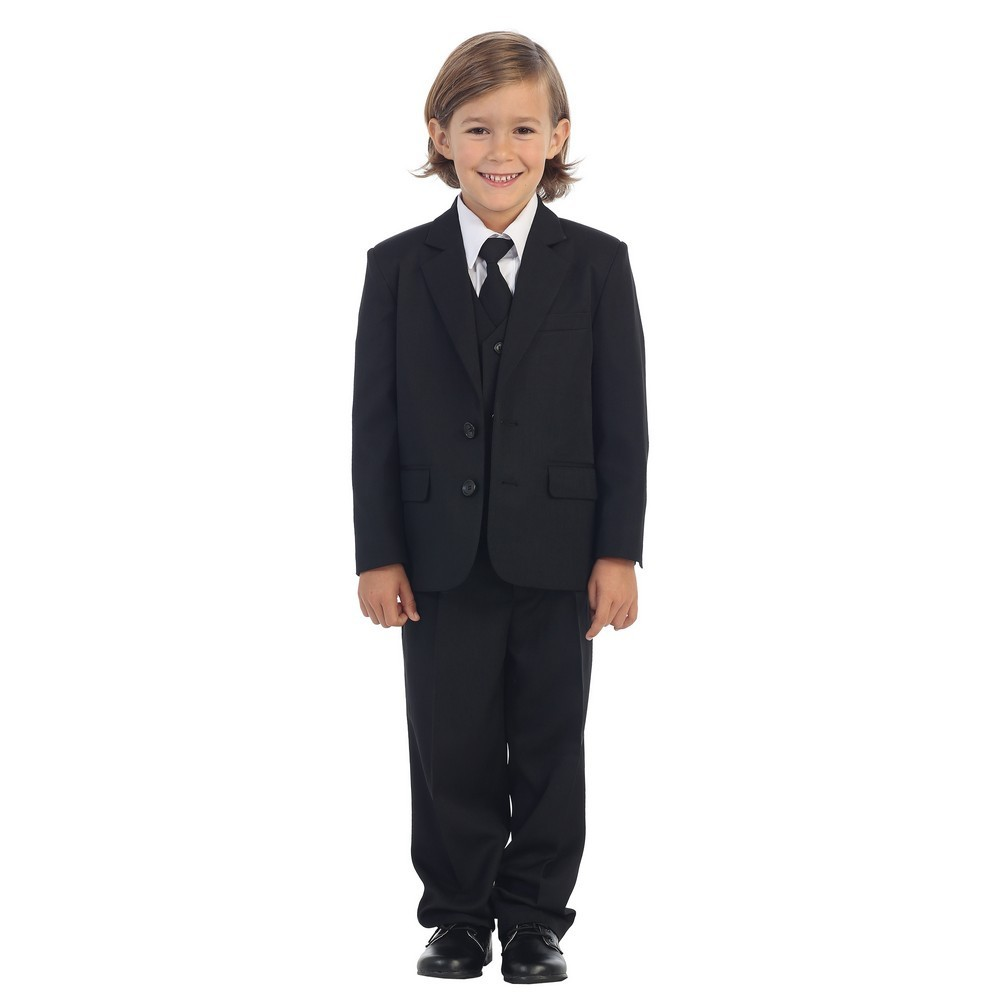 Premium Quality 5-PC Kids Boys Formal Suit Set Jacket//Vest//Pants//Shirt//Tie