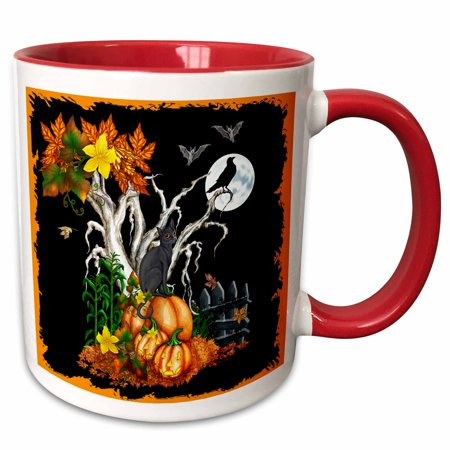 3dRose Halloween night with a black cat, creepy tree, full moon, bats and jack o lanterns - Two Tone Red Mug, 11-ounce](Halloween Jack Is A Real Cool Cat)