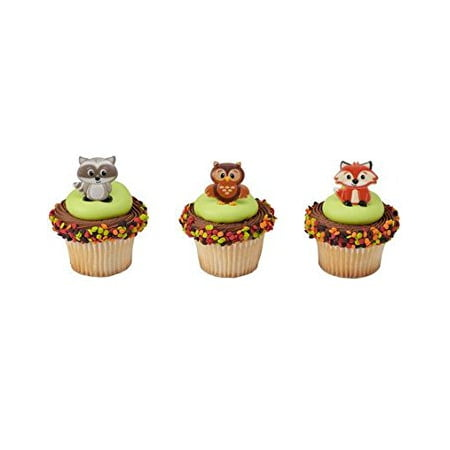 12 Woodland Animals Cupcake Cake Rings Birthday Party Favors Cake Toppers