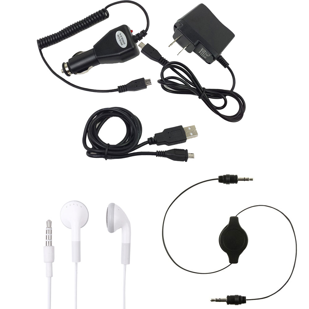Home/Travel/Car/Vehicle Charger & USB Cable, Headphones & Auxiliary Cable For Samsung Galaxy S5 Plus