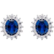 JCL Design Sterling Silver Created Sapphire/ Ruby Stud Earrings with Cubic Zirconia