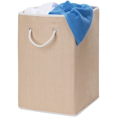 Honey Can Do Square Resin Weave Hamper with Rope Handles, Beige/White ()