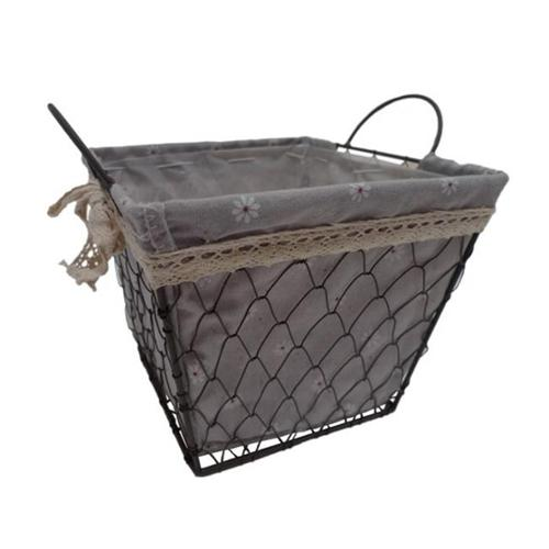 Cheung's FP-3365L Square Lined Wire Decorative Basket with 2 Ears