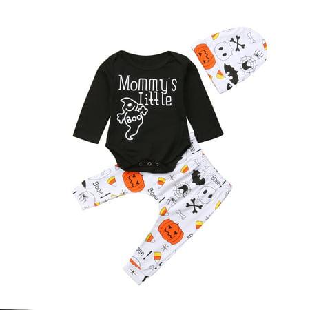 Unisex Baby Halloween Outfit Family Clothes Black Romper Bodysuit and Pumpkin Print Pants +Hat Set 3PCS