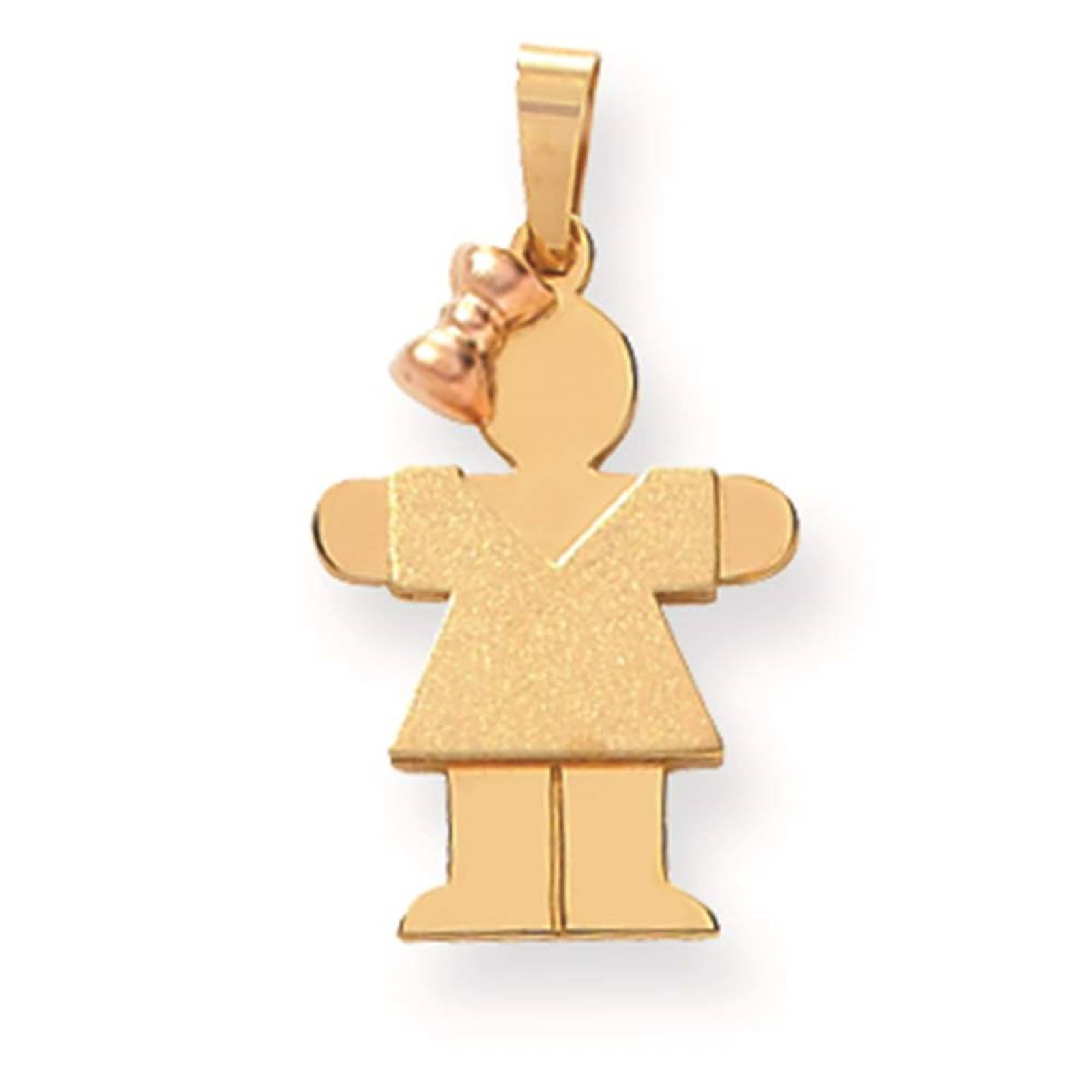 14k Two-tone Gold 'The Kids' Small Girl w/ Bow on Left Hugs Engravable Pendant