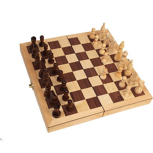 "Classic Games Collection Inlaid Wood Chess Set with 3"" King"