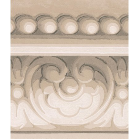 Grey White Damask Crown Molding Wallpaper Border Classic Design, Roll 15' x -