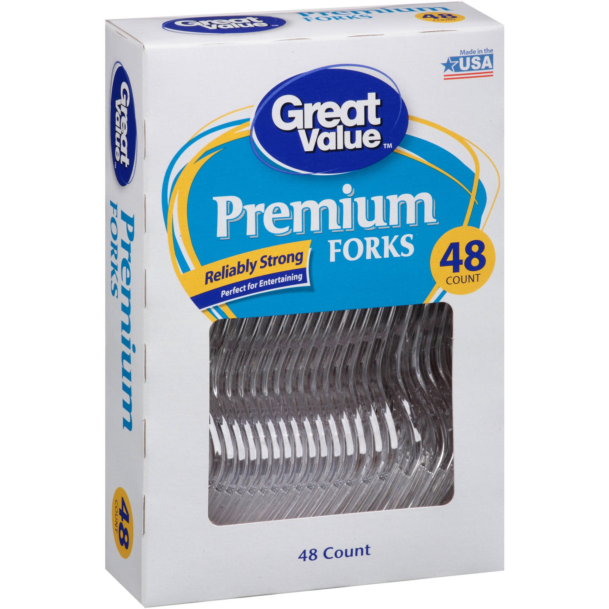 Great Value Premium Clear Forks, 48 Count