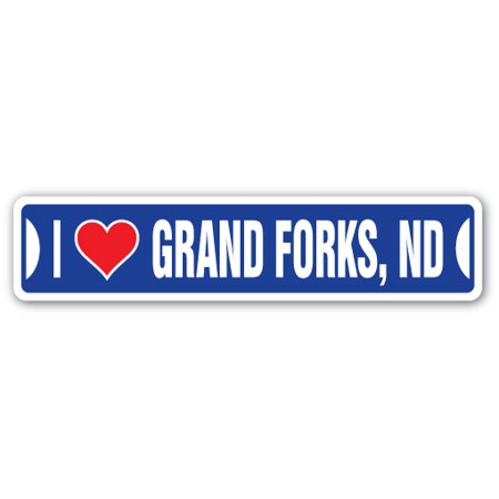 I LOVE GRAND FORKS, NORTH DAKOTA Street Sign nd city state us wall road décor - City Of Grand Forks