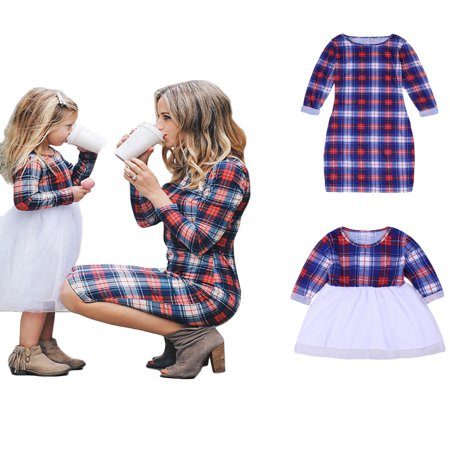 Mommy and Me Matching Plaid Long Sleeve Shirt Dress Princess Tulle Tutu Dress Parent-Child Family Outfits Clothes - Family Dress