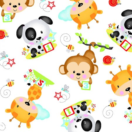 White Baby Animals Flannel Fabric