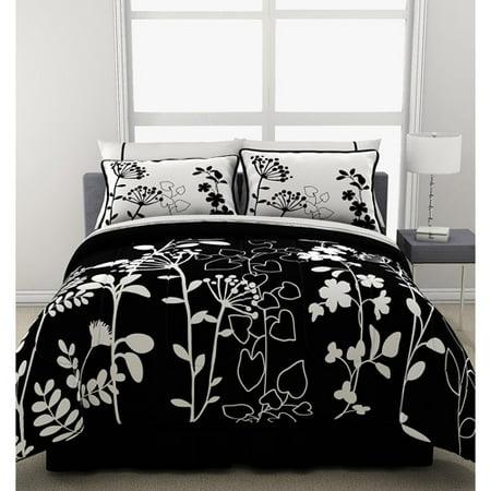 formula botanica reversible bed in a bag black and white floral print. Black Bedroom Furniture Sets. Home Design Ideas