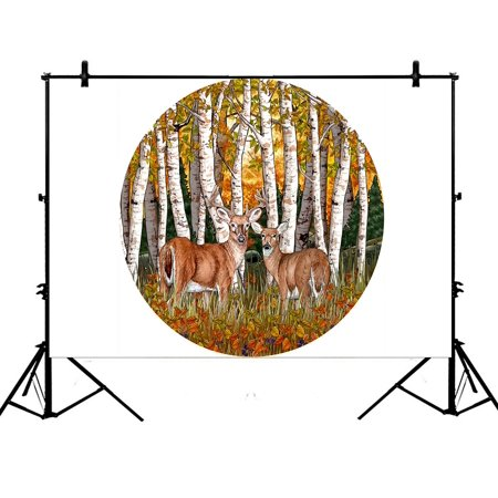 PHFZK 7x5ft Deer Animal Backdrops, Birch Forest Tree Branch Photography Backdrops Polyester Photo Background Studio Props