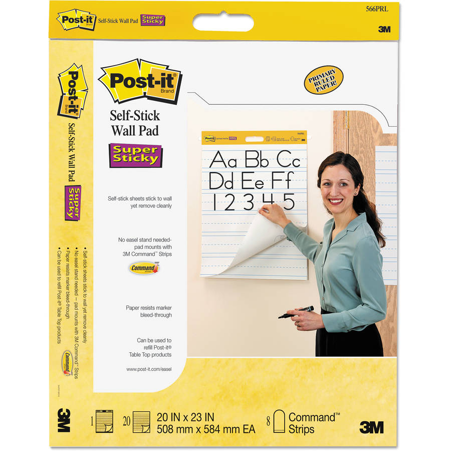 "Post-it Easel Pads Self-Stick Wall Easel Ruled Pad, 20""w x 23""h, White, 20 Sheets/Pad, 2/Pack"