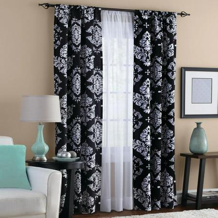 Mainstays Classic Noir Print Room Darkening Rod Pocket Curtain Panel Pair Set Of 2 Black 40 X 84 Walmart Com Walmart Com