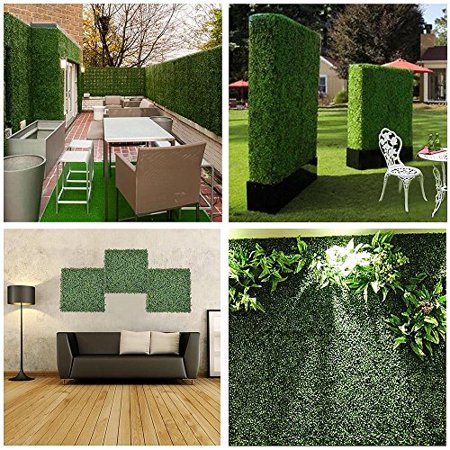 GHP 24-Pcs 3-Layer Milan Leaves PE Artificial Boxwood Hedges with Mesh Backing