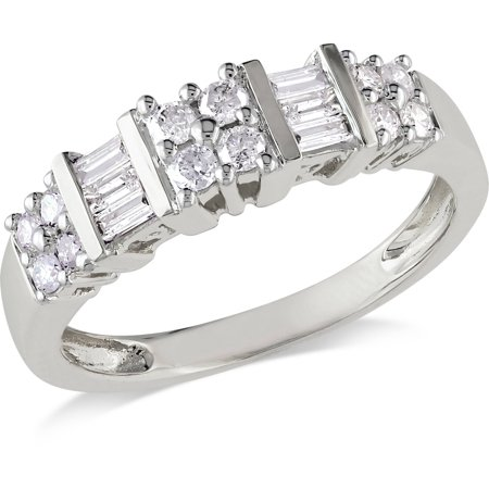 1/2 Carat T.W. Round and Baguette-Cut Diamond Wedding Band in 10kt White Gold