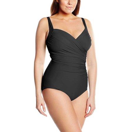 39d4894521745 Miraclesuit - Miraclesuit Plus Size Womens Sanibel One-Piece Swimsuit Black  Size 16W - Walmart.com