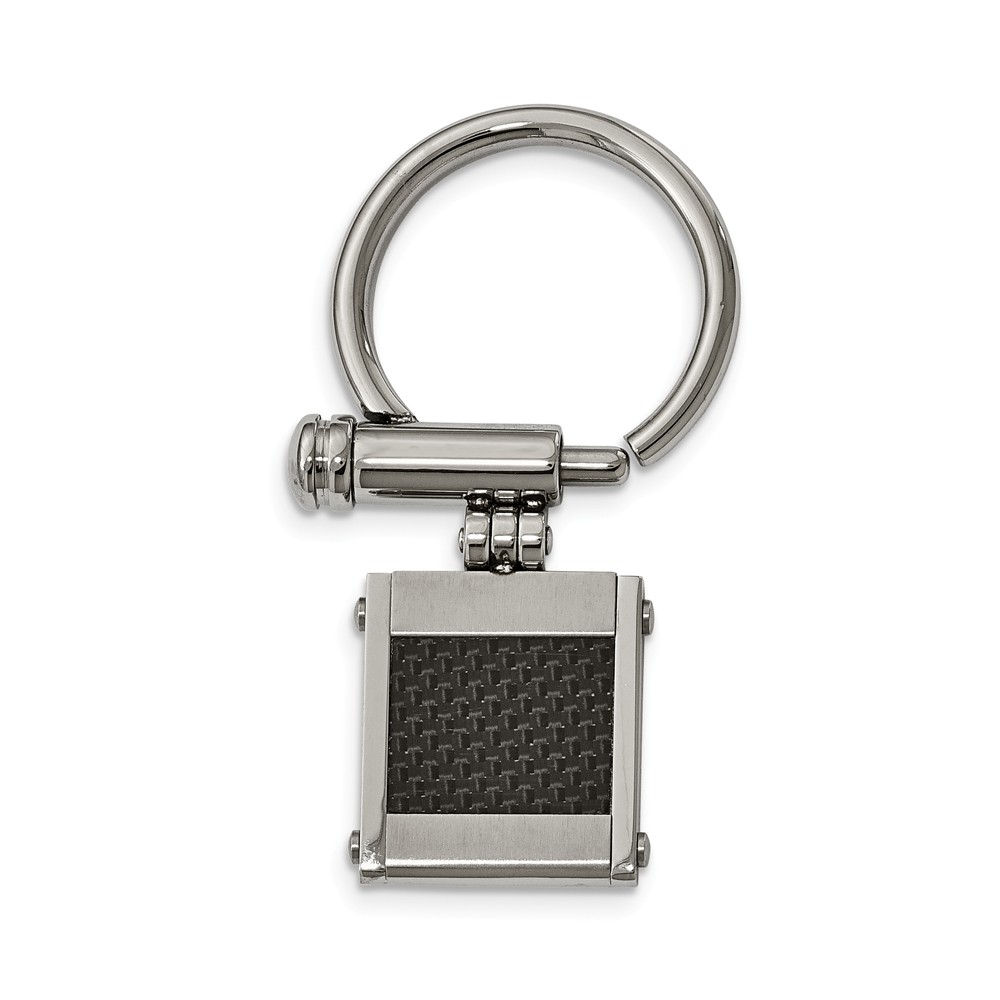 Stainless Steel Brushed and Polished Black Carbon Fiber Inlay Key Ring (21.85mm x 54.3mm) by AA Jewels