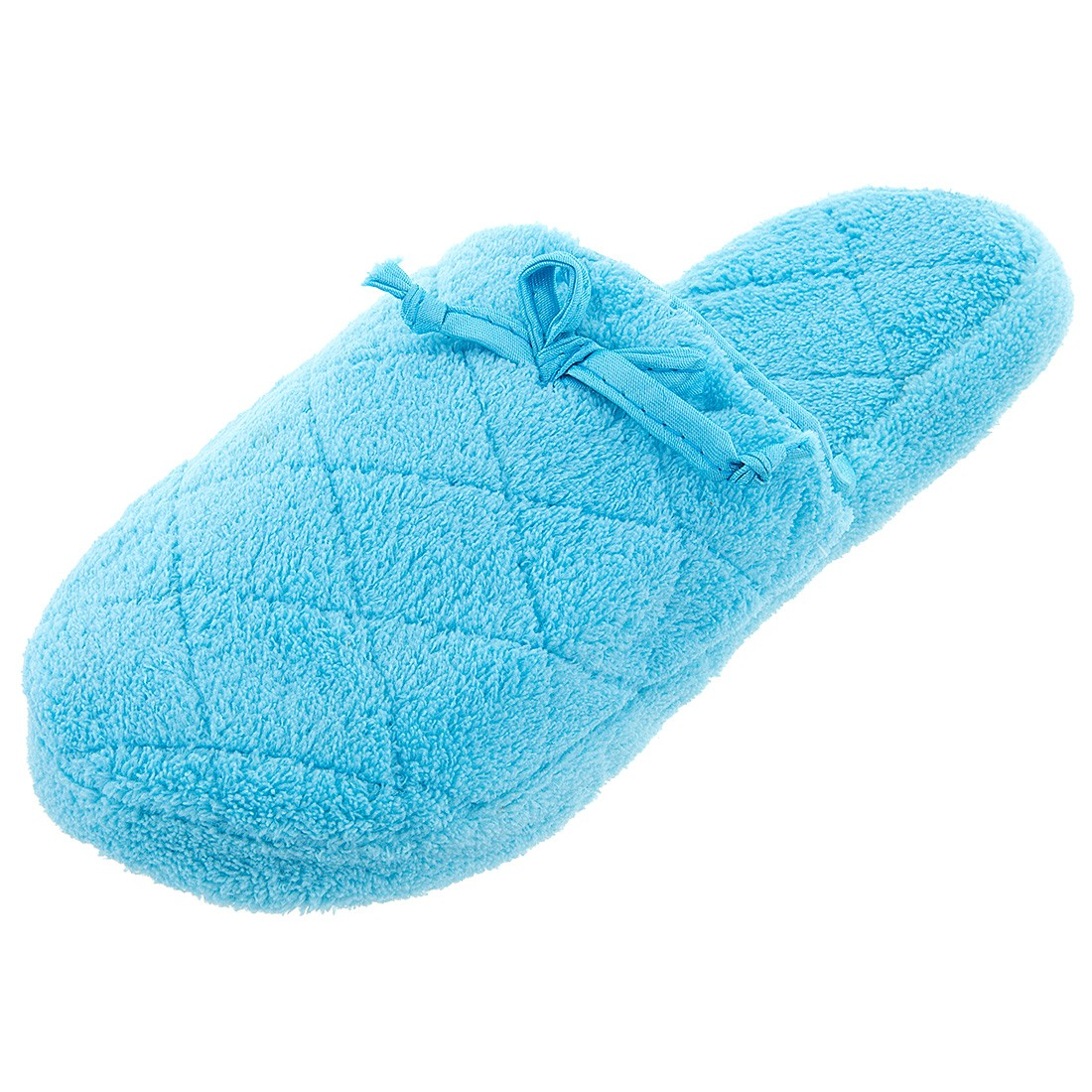 Blue Quilted Fuzzy Women's Slippers