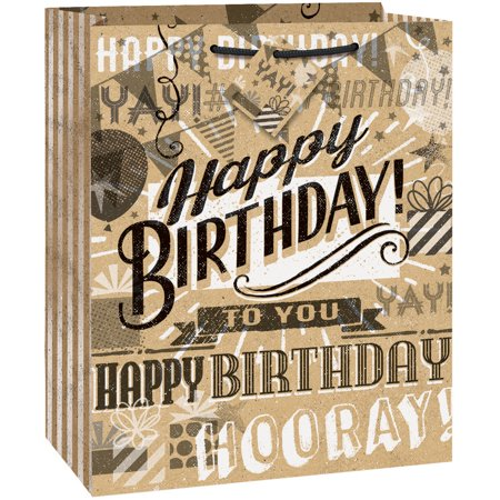 Kraft Paper Happy Birthday Gift Bag