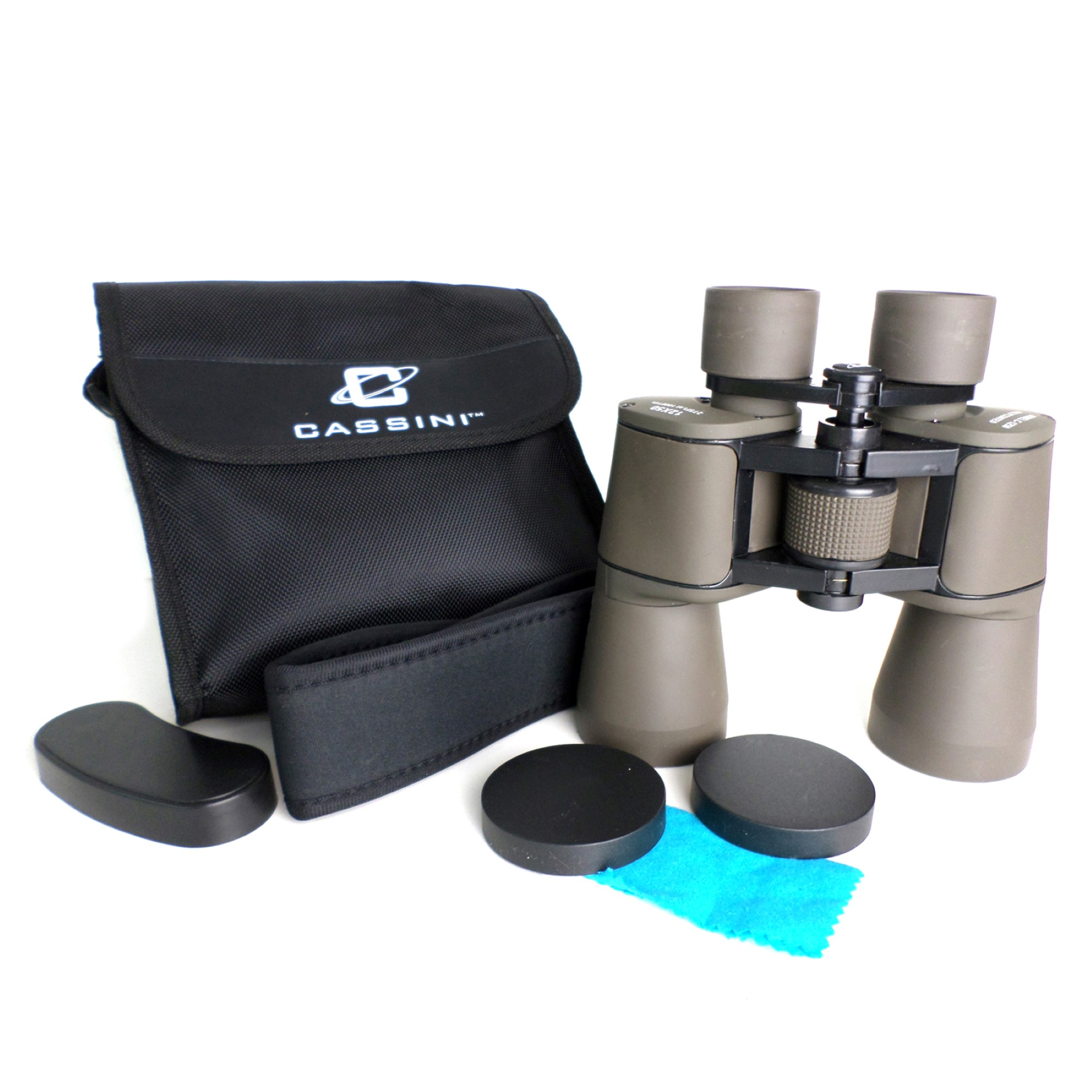 Cassini 12 x 50mm Day and Night Binocular brings images 12 x closer with large 50mm Objective lens for bright and wide views. Tripod Port and Shoulder Case