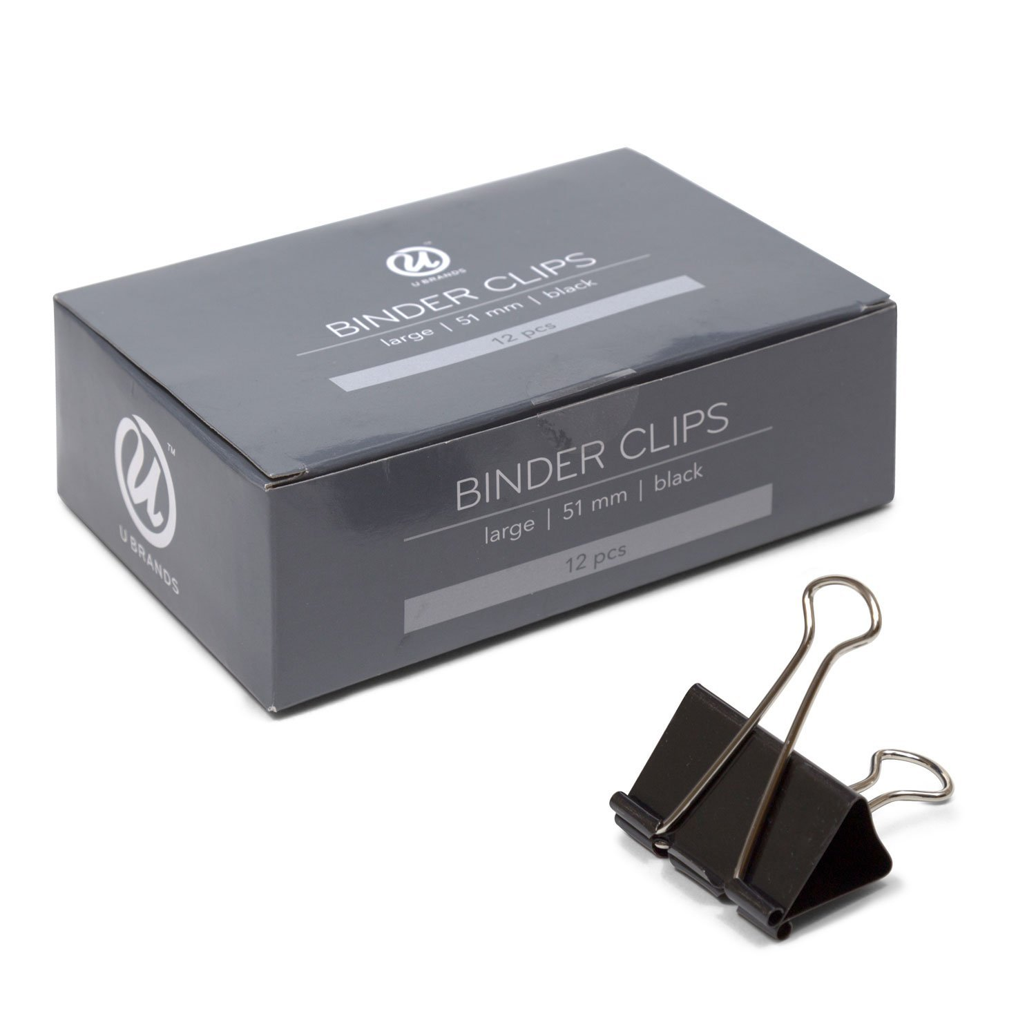 "U Brands Binder Clips, Large 2"" Capacity, Black and Silver Steel, 12 Ct"