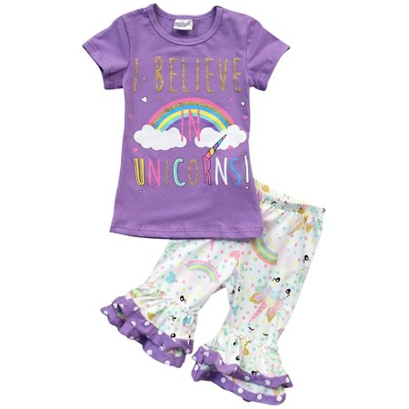 Toddler Girl Kids Unicorn T-shirt Top Tee Polka Pant Outfit Clothing Set Lilac 2T XS 201275 BNY Corner