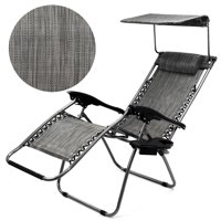 GHP Gray Zero Gravity Outdoor Patio Canopy Lounge Chair with Pillow & Cup Holder