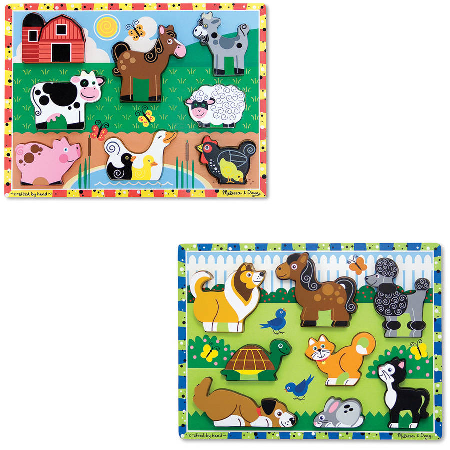 Melissa & Doug Wooden Chunky Puzzles Set, Farm and Pets by Generic