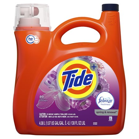 Tide Plus Febreze Freshness Spring & Renewal HE Turbo Clean Liquid Laundry Detergent, 138 fl oz 89 (Best Tan Removal Soap)