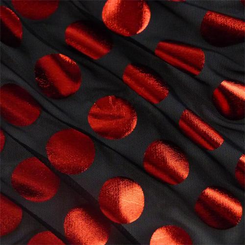 Black/Metallic Red Polka Dot Foil Print Power Mesh, Fabric By the Yard