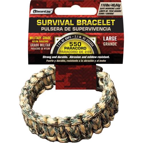 "SecureLine 550 lb Military Grade Paracord Survival Bracelet, Large, 9.5"", Camouflage"