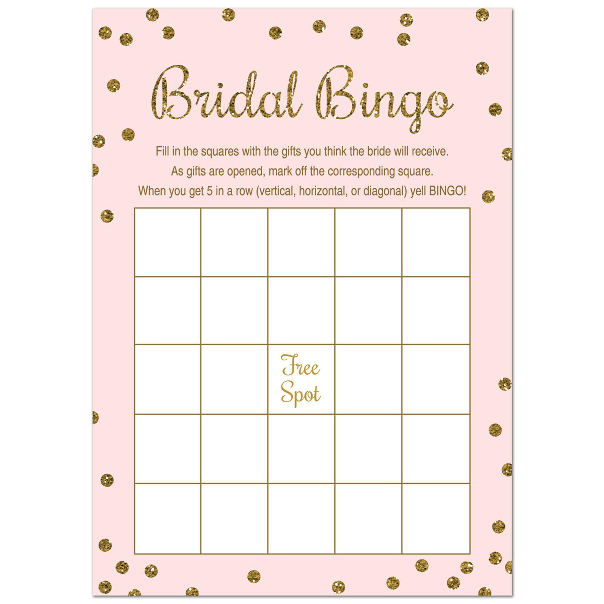 Bridal Shower Bingo  - Faux Gold Glitter on Pink - 24 Cards