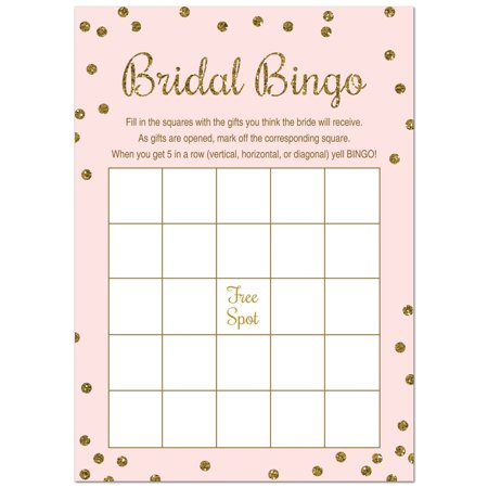 Bridal Shower Bingo  - Faux Gold Glitter on Pink - 24 - Bridal Bingo