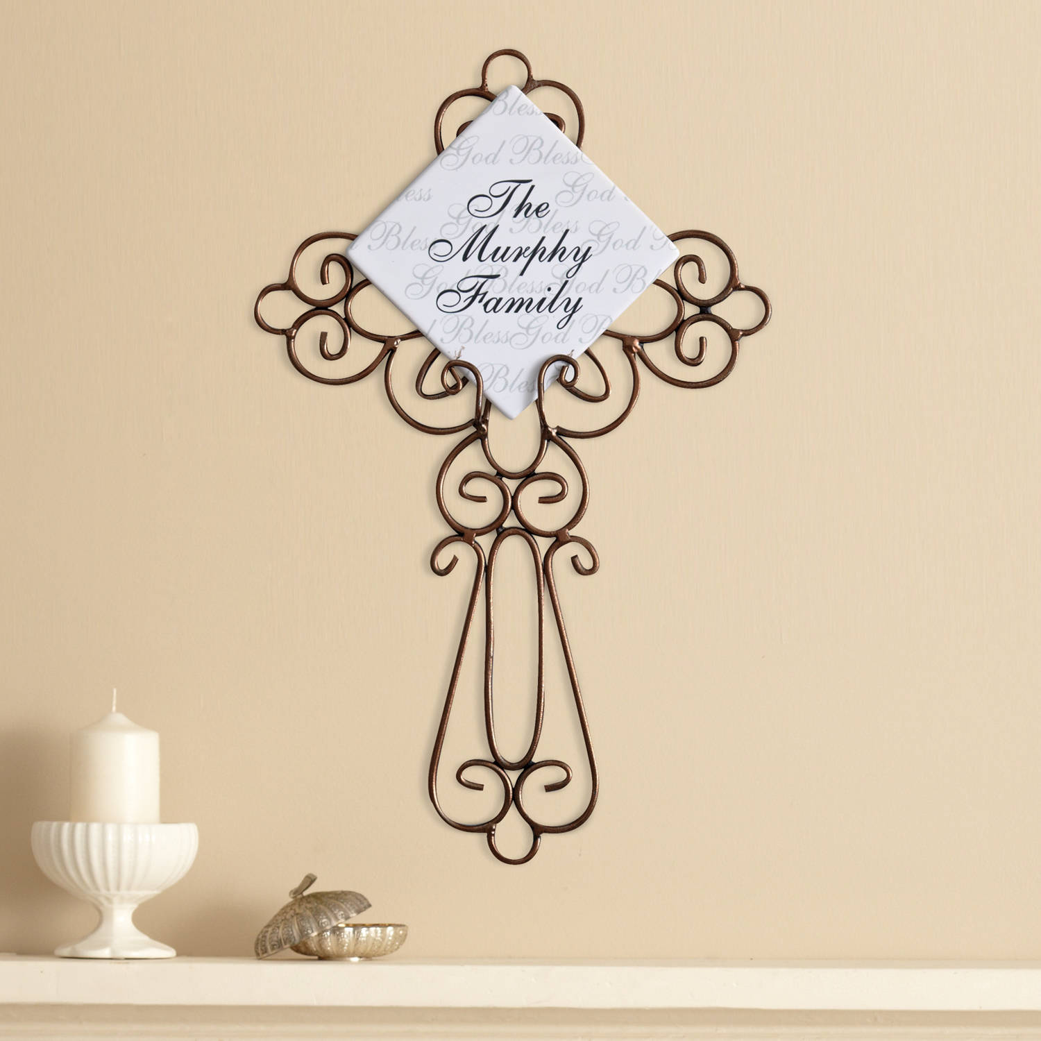 Personalized God Bless Wrought Iron Cross