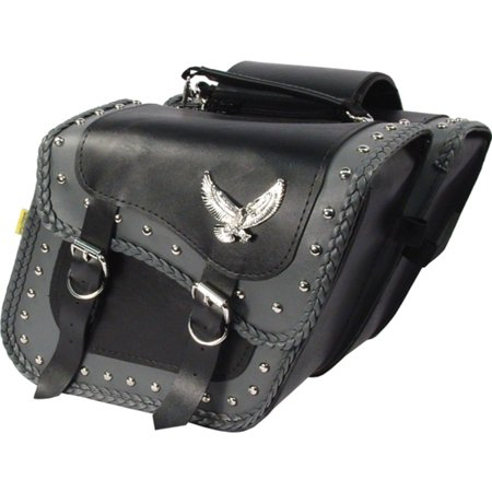Willie & Max 58706-01 Studded Gray Thunder Compact Slant Saddlebag - 12in. x 9 1/2in. x 5 1/2in.