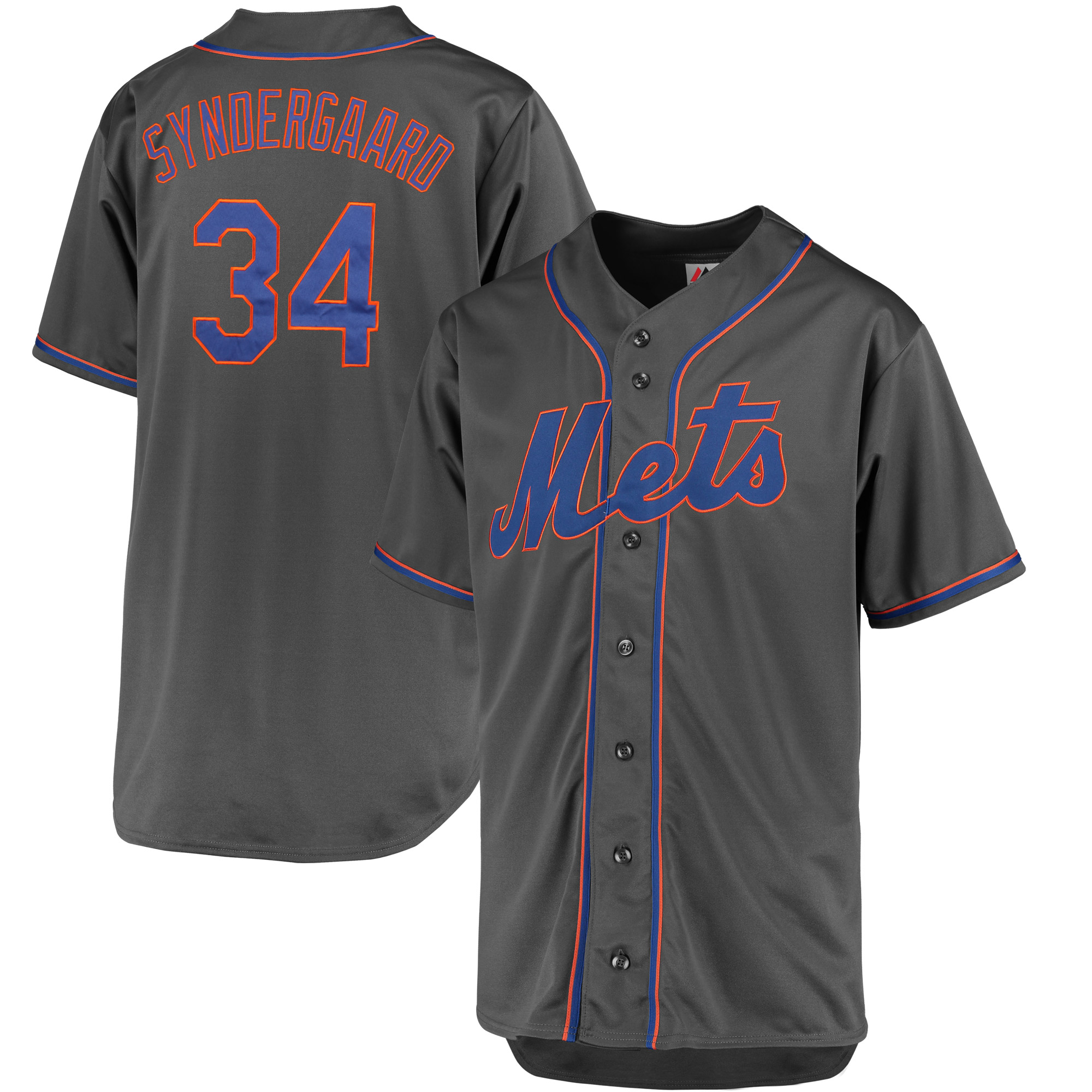 Noah Syndergaard New York Mets Majestic Fashion Big & Tall Player Jersey - Charcoal