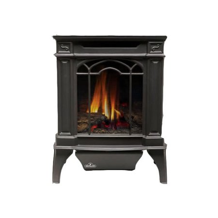 Napoleon GVFS20 Arlington™ 23,000 BTU Vent Free Cast Iron Gas Stove Arlingtonâ ¢ 23,000 BTU Vent Free Cast Iron Gas Stove This GVFS20 stove may be compact in stature, but not in power with 23,000 BTUs on natural gas and propane. Featuring modern conveniences like millivolt remote control gas valve with adjustable flame/heat control, piezo igniter, safety  pilot on  indicator light, and oxygen depletion sensor, this fireplace will keep your home warm with its comfortable amenities. In addition, the realistic Phazer(tm) log set and porcelain reflective rear panel makes this a beautiful stove for your home and will look just like a traditional log fire. State-of-the-art vent free technology makes this the most versatile option available and the oxygen depletion sensor 100% safety gas shut off feature make it safe for your home. Vent free appliances are not approved for sale in Canada and some US states. Please check local codes. Features: 19.25  Width x 25.375  Height x 15.75  Depth Up to 23,000 BTUs and 99.9% steady state efficiency Compact and designed to be a quick and easy install Vent free design European cast iron design with exquisite detail and style in painted black finish PHAZERAMICâ ¢ burner technology for flickering flame and realistic glowing ember bed Realistic Phazer ® logs for a natural wood burning look Built-in adjustable flame and heat control No electricity required to ignite or operate Safety screen comes standard Equipped with an oxygen depletion sensor and 100% SAFE GUARDâ ¢ gas control system Porcelain reflective rear panel creates the illusion of 2 fires in 1 Available in Natural Gas or Propane Presidentâ s Limited Lifetime Warranty Time after time, Napoleon ® has led