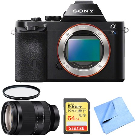 Sony a7S Full Frame Mirrorless Digital Camera Body with Sony FE 24-240mm F3.5-6.3 OSS Full-frame E-mount Telephoto Zoom Lens, 64GB Extreme SD UHS-I Memory Card, UV Filter and Micro Fiber Cloth