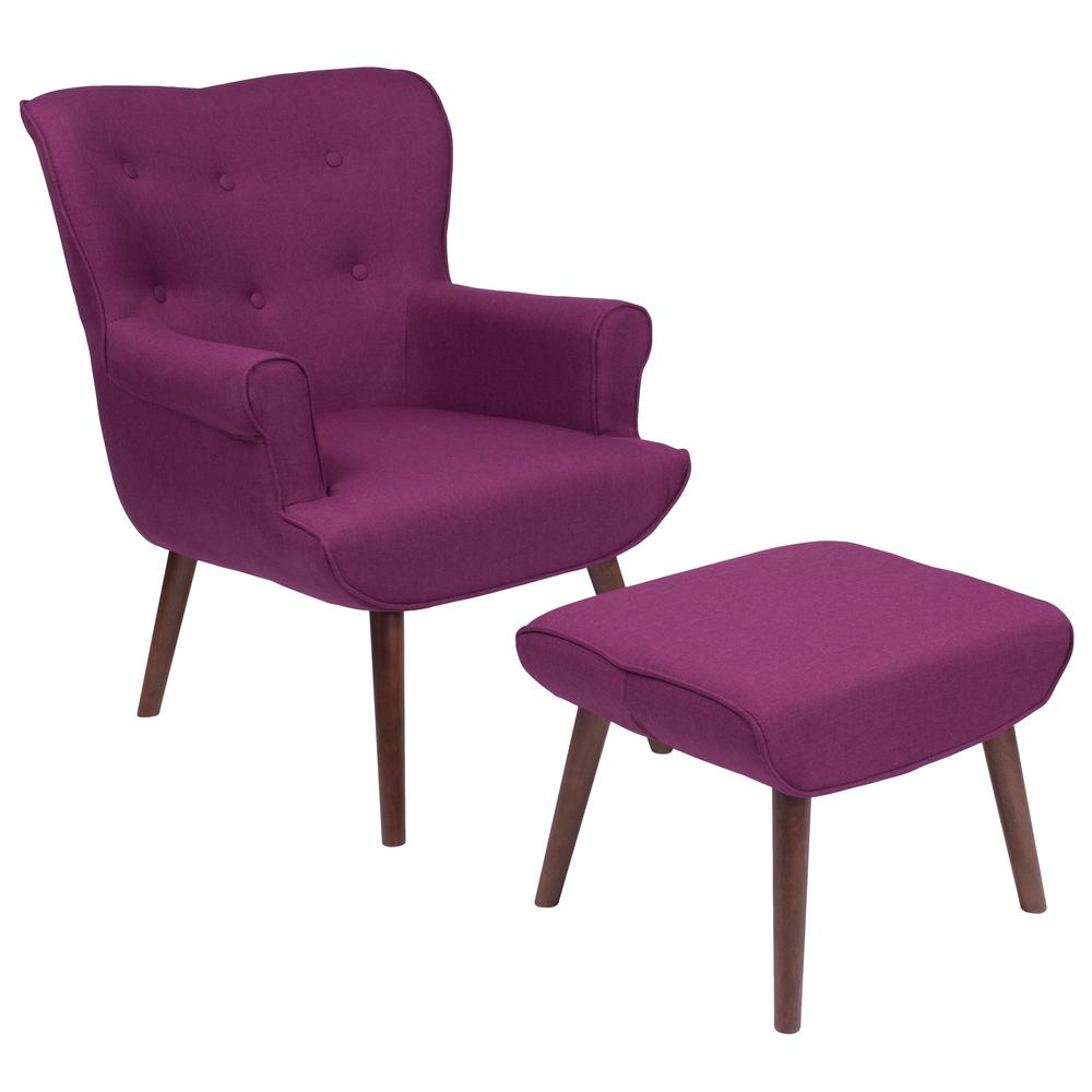 Upholstered Wingback Chair with Ottoman in Purple Fabric