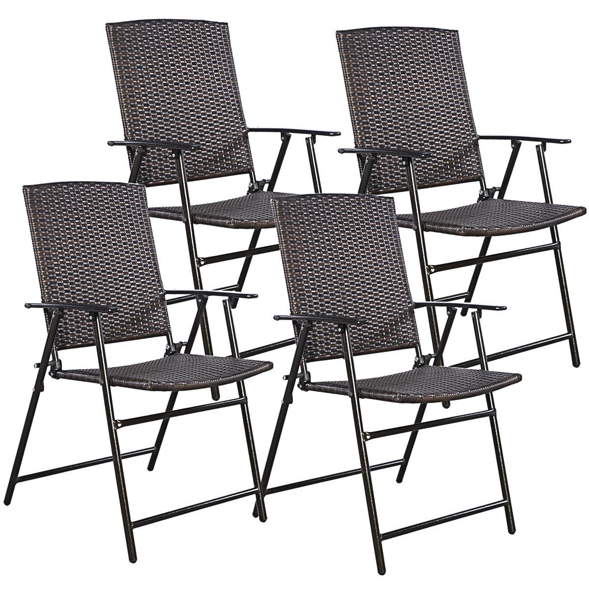 Gymax Folding Rattan Chair Brown 4 PCS Outdoor Indoor Furniture
