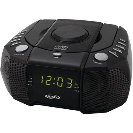 jensen jcr 310 dual alarm clock am fm stereo radio with top loading cd player. Black Bedroom Furniture Sets. Home Design Ideas