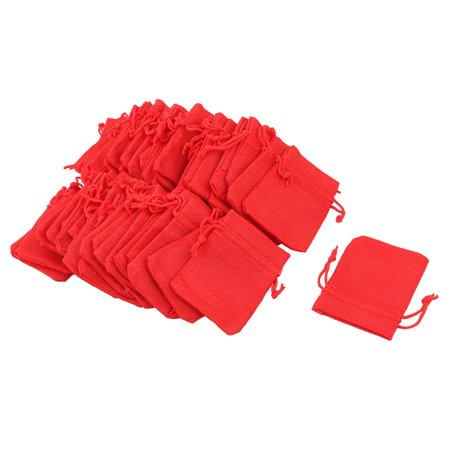 Cotton Linen Gift Jewelry Beads Coin Holder Drawstring Bag Pouch Red 50pcs