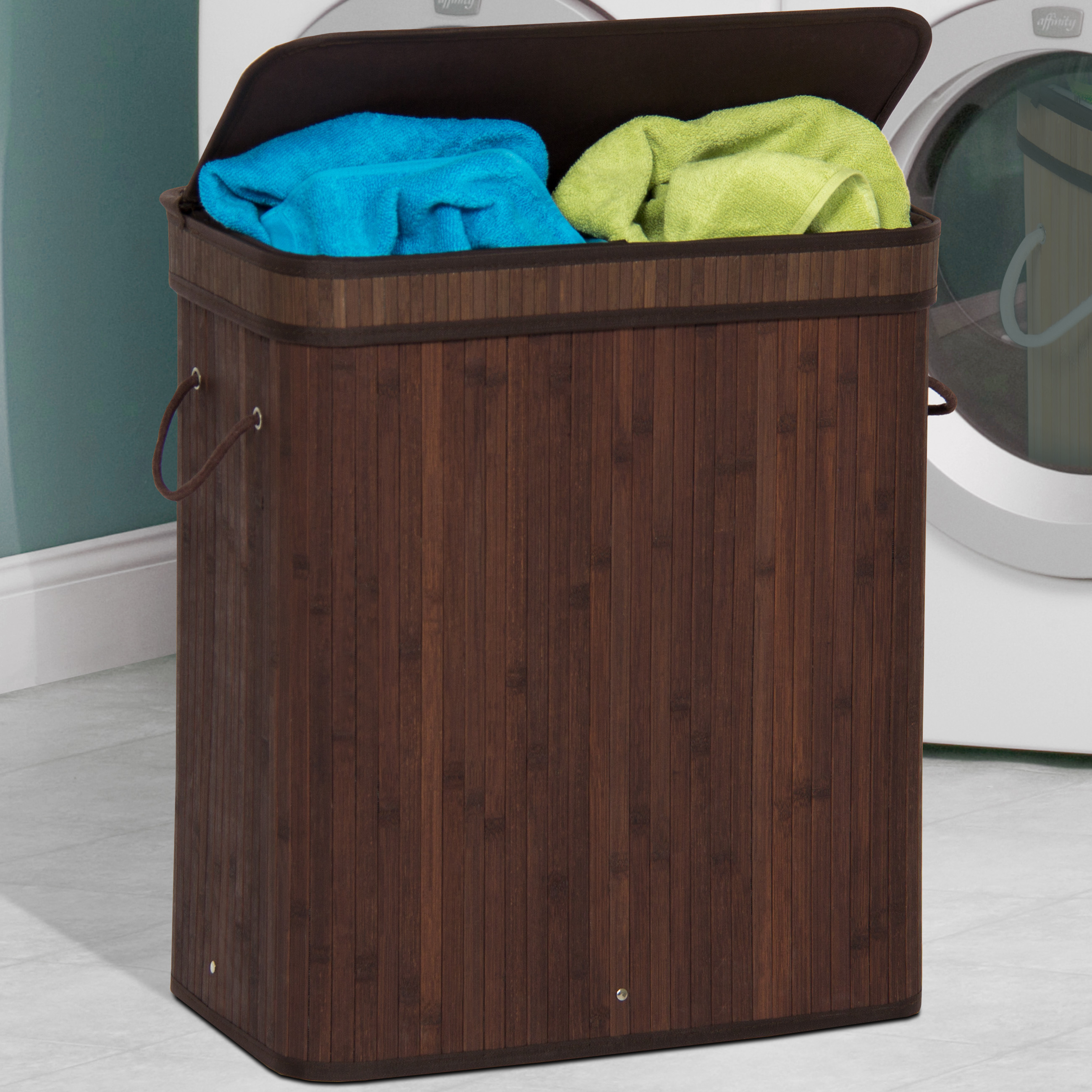 Best Choice Products Bamboo Double Hamper Laundry Basket Dark Brown by
