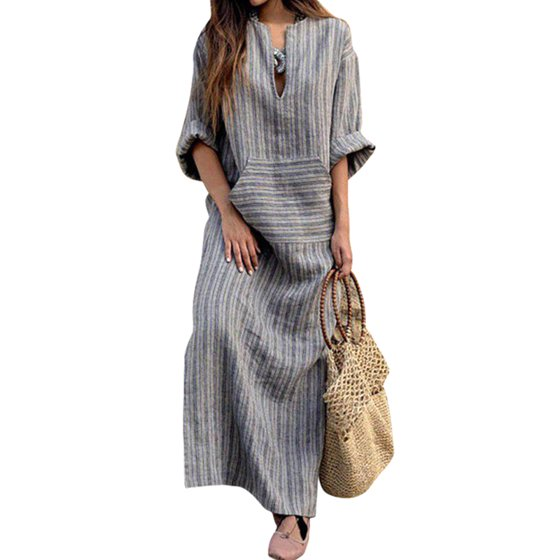 Nicesee Women Long Sleeve Loose Vintage Cotton Linen Dress Plus Size