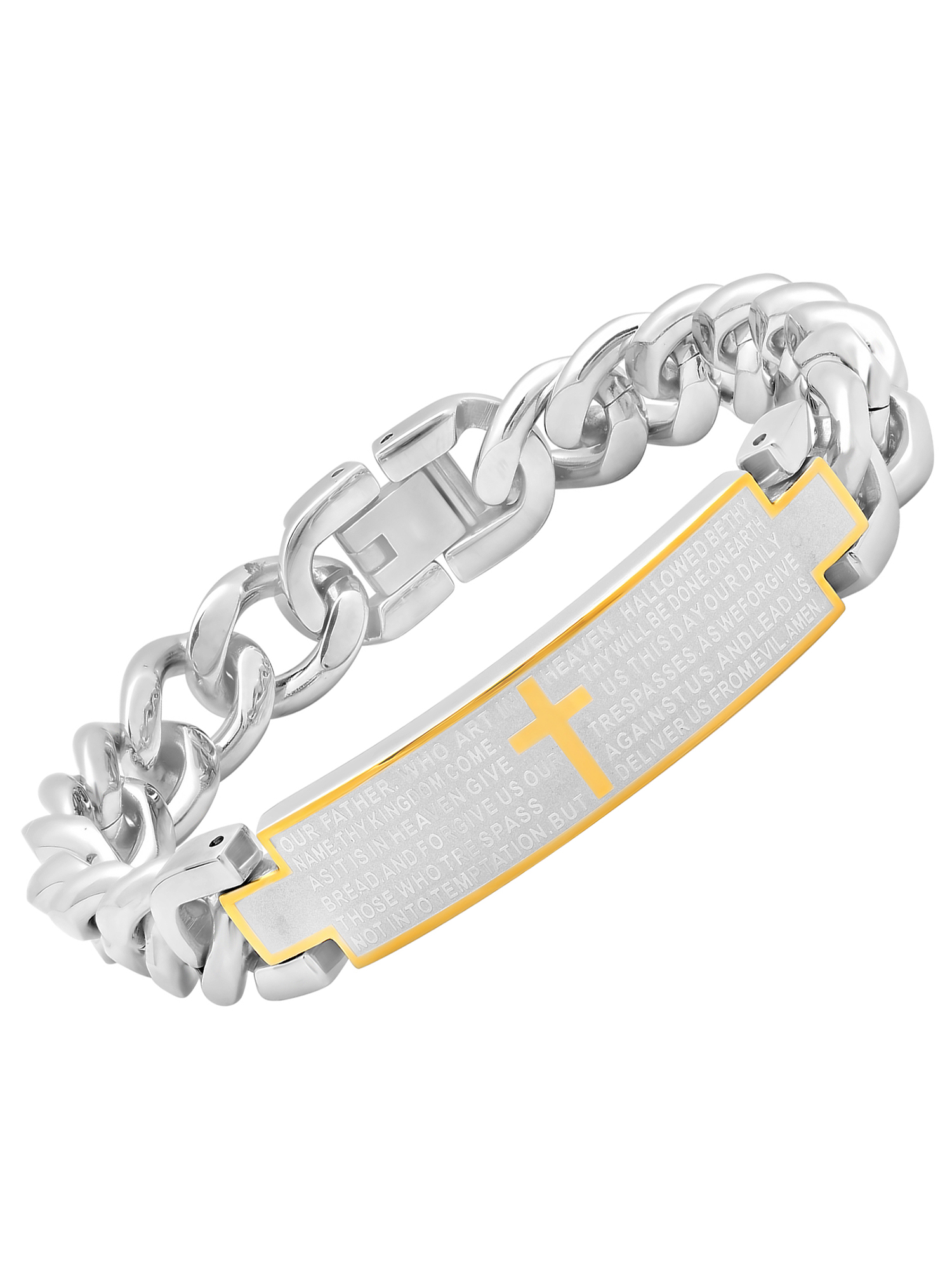 Men's Stainless Steel Two-Tone Lord's Prayer ID Bracelet, 8.5""