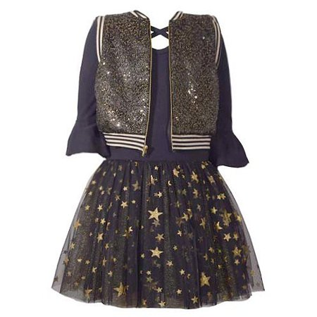 Little Girls Navy Black Gold Star Flared Cuffs Vest Dress