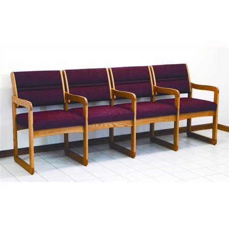 Wooden Mallet Quad Reception Area Chair Solid Medium Oak Frame Upholstered